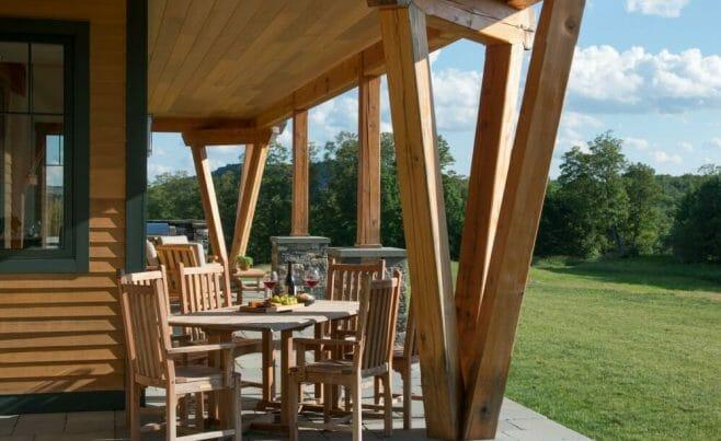 Beautiful V-Shaped Timber Column