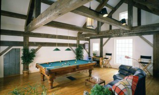 Antique Timber Frame Home Game Room