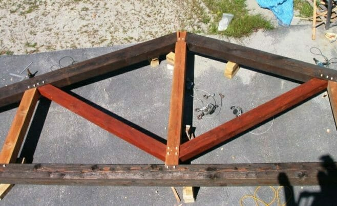 Assembled King Post Truss with Multi-Colored Stained Beams