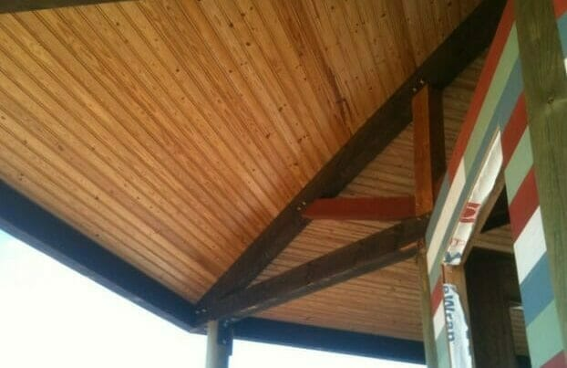 Stained Timber Porch Trusses