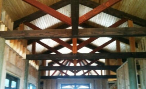 King Post Truss in the Robinson Residence with Multi-Colored Stained Wood