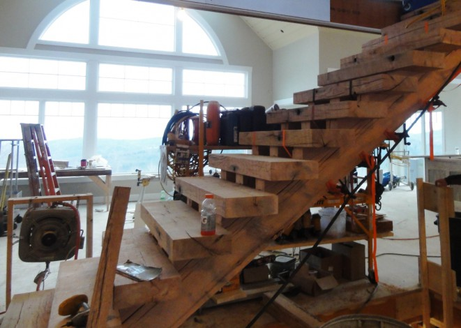 Ruby Oak Staircase During Construction