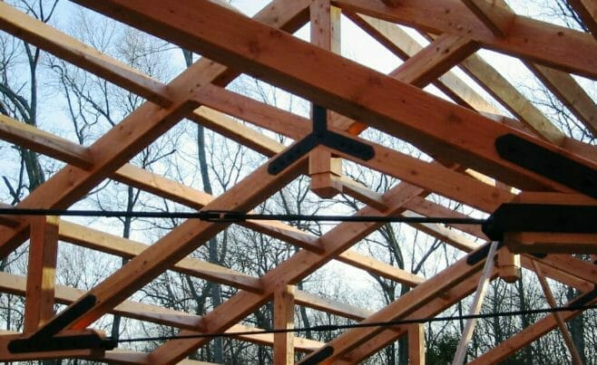 Heavy Timber Modified Scissor Roof Truss with Steel Tie Rod