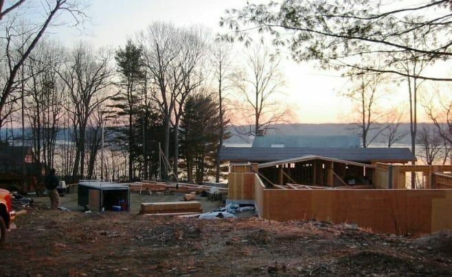 Timber Pool House and Lake View