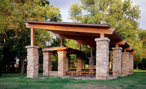 Outdoor Pavilion Made with Timber and Stone in Citizen's Park