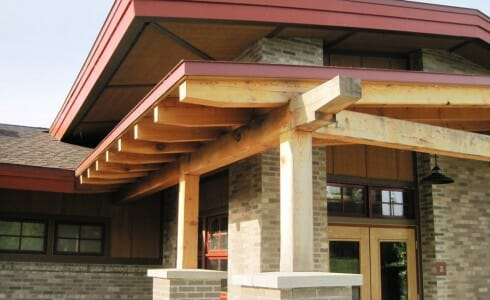Entrance to Building at Lake Taghkanic with Timber Beams