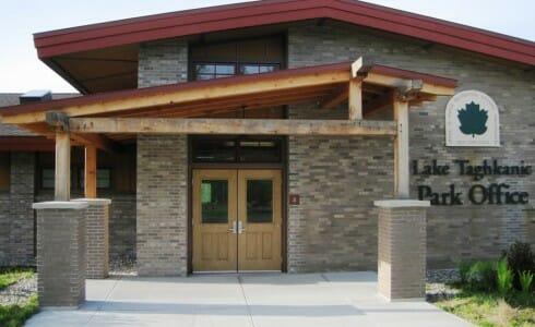 Lake Taghkanic Office Entrance with Timber Beams and Posts