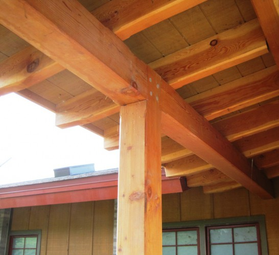 Timber Frame Pergola With Posts Beams And Gluelam Arches