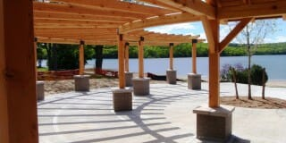 Stained Timber Pergola with a Beautiful View