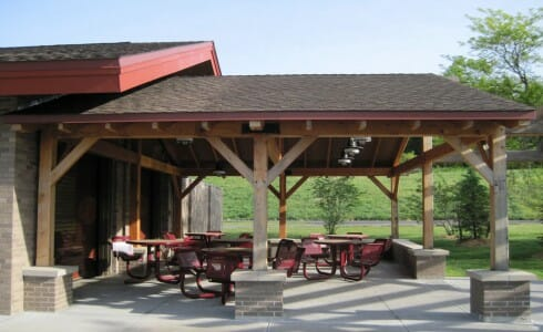 Timber Post Outdoor Dining Area at  Lake Taghkanic