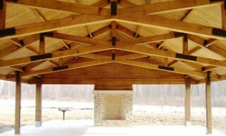 Beautiful Timber Frame Interior of Fort Harrison Pavilion
