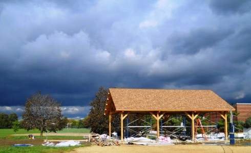 Outdoor Timber Pavilion During Construction