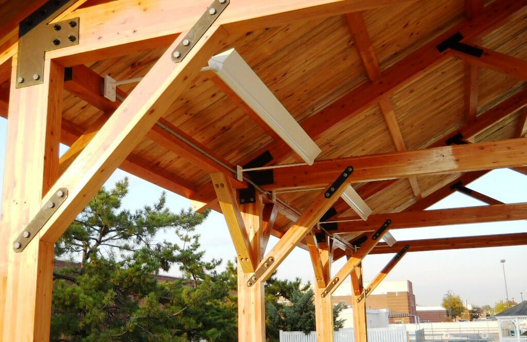 Timber Frame Ceiling Fan : Timber construction picnic pavilion king post trusses