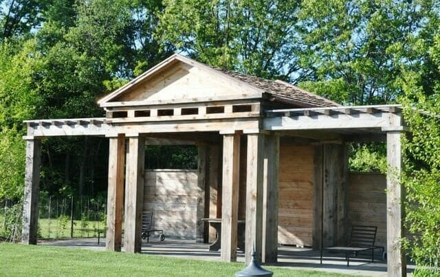Weathered Wood Pool Shelter
