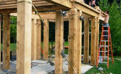 Pergola Style Pool House During Construction - McCarthy Pergola Traditional Joinery Douglas Fir Frame