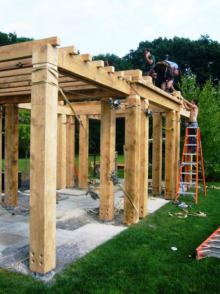 Pergola Style Pool House During Construction - McCarthy Pergola Traditional  Joinery Douglas Fir Frame - Timber For Pergola Construction Outdoor Goods