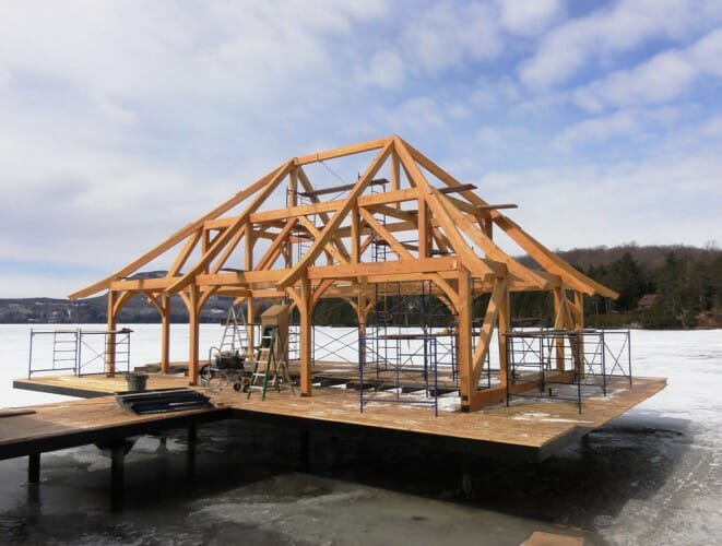 Macpherson boat house modified hammer beam girder truss for Timber frame bridge