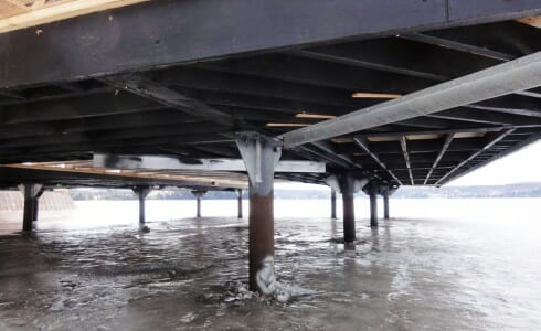 Underside Support Posts For the Timber Boathouse