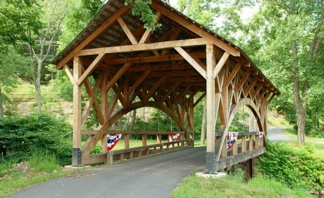 Bridge Entry Constructed with Red Oak Timber