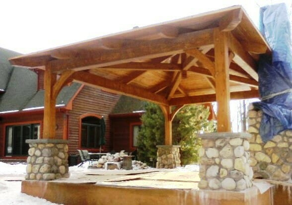 Exposed Heavy Timber Pool Shelter - Rosenburg Pool Pavilion Custom Post & Beam Pool Pergola