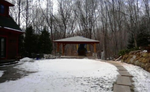 Snow Covered Timber Frame Pool House