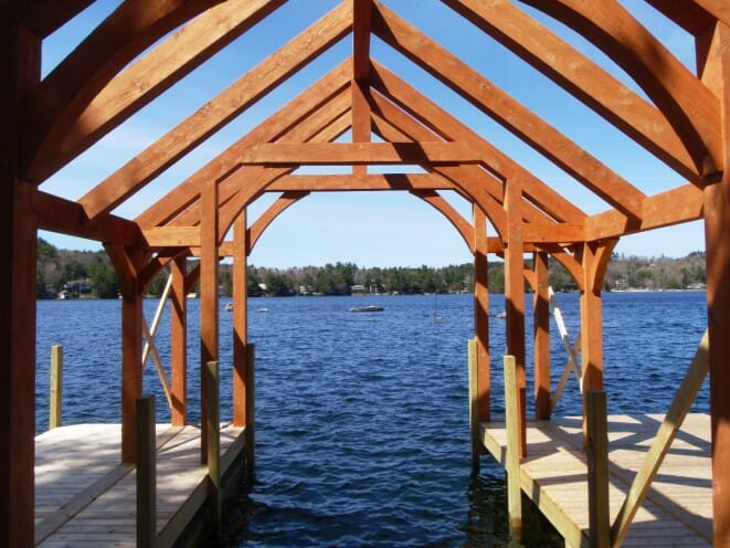 Hemlock Timber Frame Boathouse