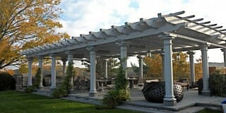 the High Winds Pergola Is Made Out of Hand Hewn White Oak