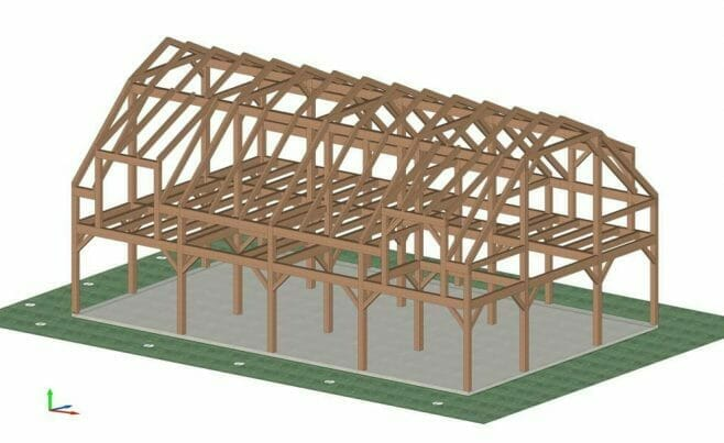 3D Shop Drawing of a Gambrel Frame