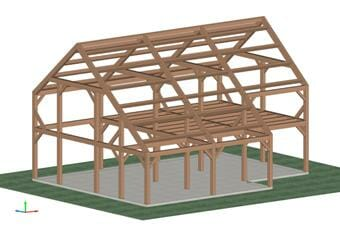 3D Shop Drawing of a Saltbox Timber Frame