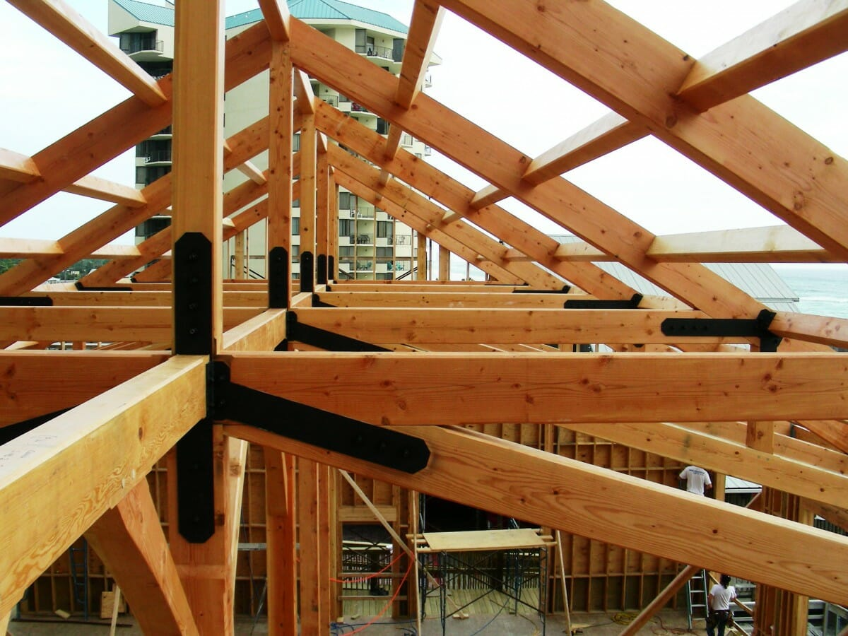 Restaurant timber frame with steel joinery
