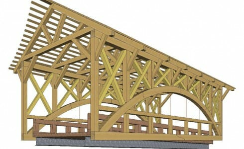 3D Shop Drawing of a Timber Frame Bridge