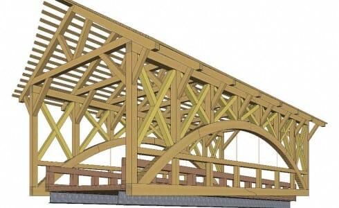 3D Shop Drawing of a Timber Frame Bridge