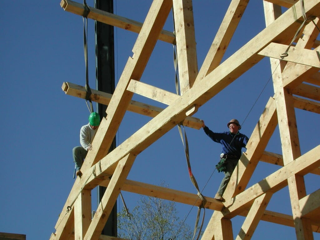 Dovetailed joints for wood joists and purlins for Roof and floor