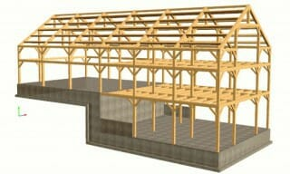 Timber frame design fabrication assembly and erection for Post frame building plans