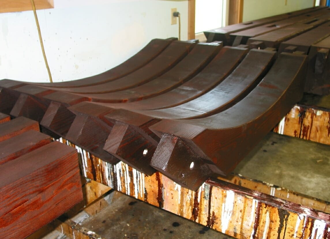 Dark Wood Stain on Curved Braces