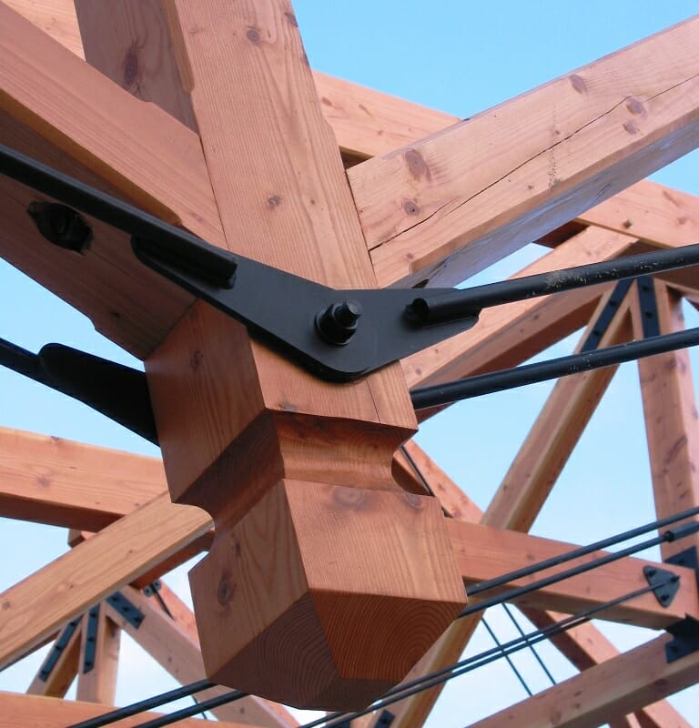 Timber Frame Joinery With Steel Connector Plates For Timber