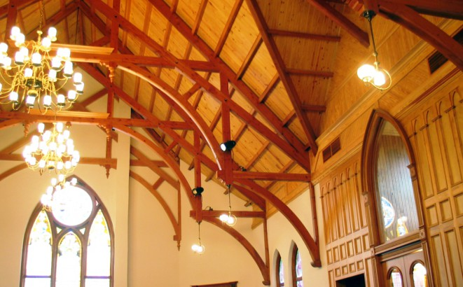 Modified hammer beam trusses arched webs and braces for Cathedral ceiling trusses