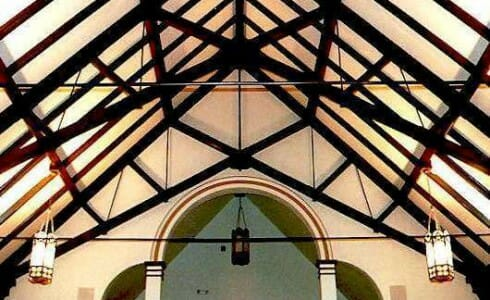 Timber Scissor Trusses in Saint Catherine Church with Steel Tie Rods