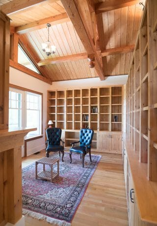 Timber Framed Study Office with Trusses and decorative finials inside the Wakenah Lake House