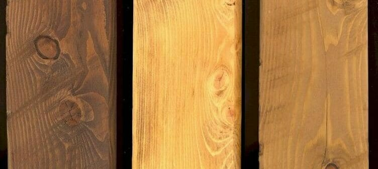 Hemlock Timbers with 3 Different Types of Stain