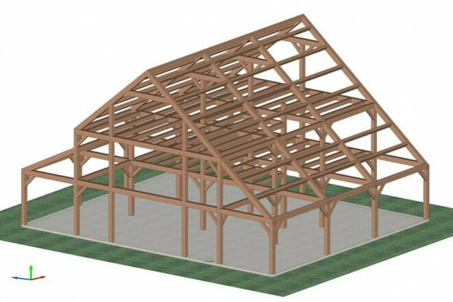 Farm House Timber Frame Isometric