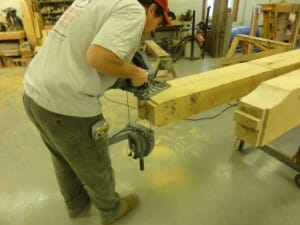 Timber Frame Using a Band Saw to Cut Beam Ends