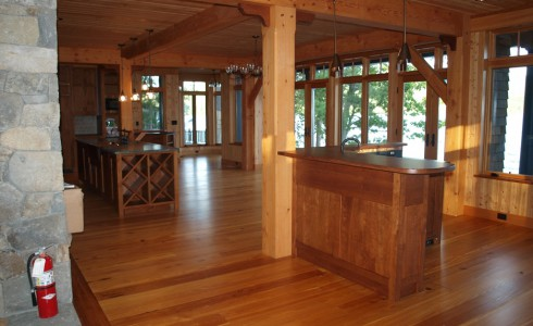 Lakeside Home with a Wood Beam Interior
