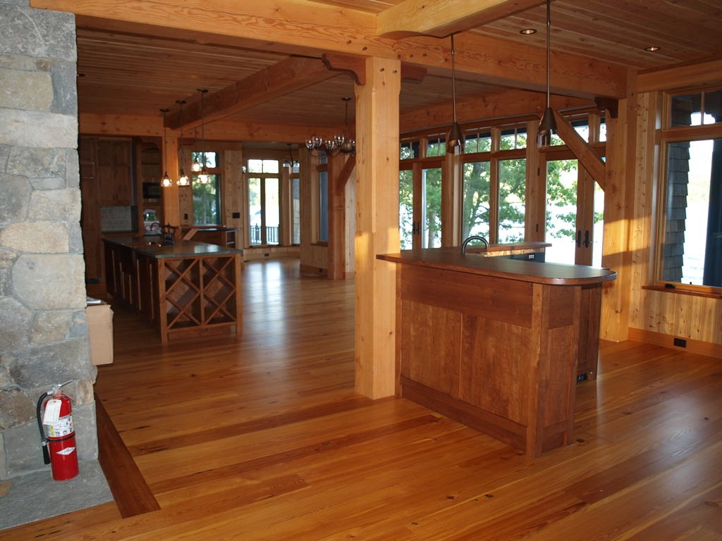 Adirondack timber frame home for Interior post designs