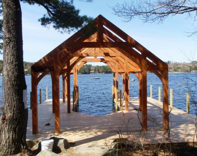 Timber Boat House on Lake Sunapee