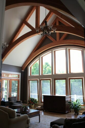 Arched Timber Trusses in a Timber Frame Interior