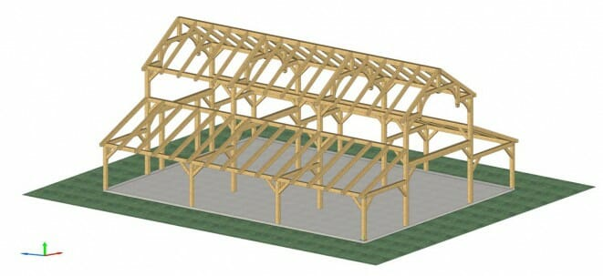 3d Rendering of a Hammer Beam Barn