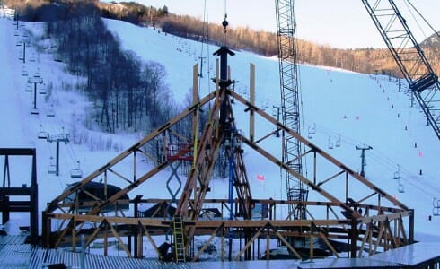 Ski Lodge Steel Connected Heavy Timber Trusses