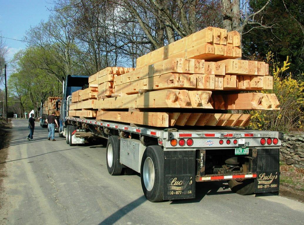 timber-frame-assembly-&-raising-ready-hemlock-on-truck