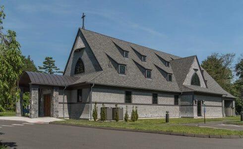 Exterior of Saint Andrews Church in Ridgefield, CT